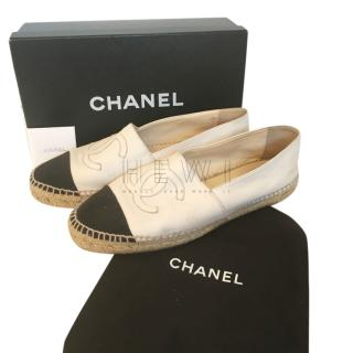 Chanel Black & White Cap-Toe Lambskin Espadrilles