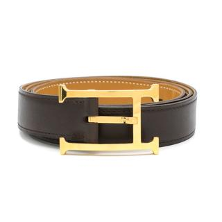 Hermes Dark Brown Gilt H Buckle Leather Belt 24mm Length 110cms