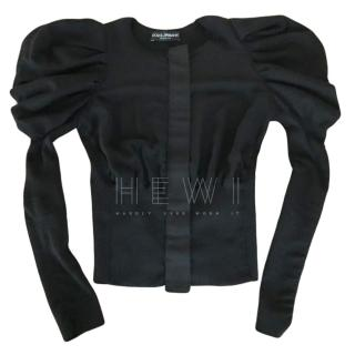 Dolce & Gabbana Black Puff Sleeve Zip Front Top