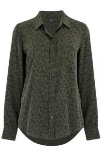 Rails Khaki Leopard Print Silk Shirt