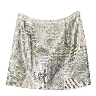 Marc Cain Silver Sequin Mini Skirt