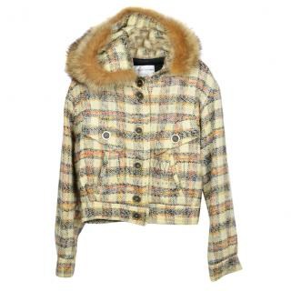 Krizia Wool Blend Fur Trim Check Jacket