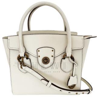 Lauren Ralph Lauren White Leather Tote Bag