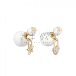 Dior White Crystal Embellished Tribales Earrings
