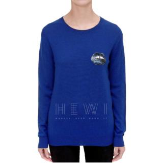 Markus Lupfer Blue Natalie Sequin Mini Lara Lip Jumper