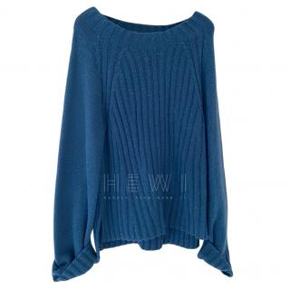 VInce Blue Ribbed Sweater
