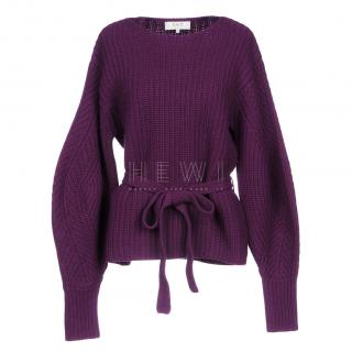Sea NY Purple Ribbed Knit Belted Jumper