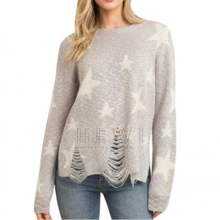 Wildfox Couture Distressed Star Knit Jumper