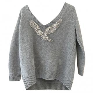 Ba&Sh Crystal Bird Applique Low Back Grey Jumper