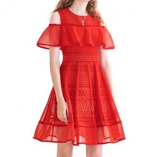 Maje Red Mesh & Jersey Rosalie Dress