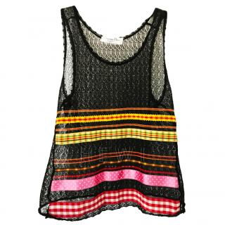 Christian Dior Vintage Striped Lace Top