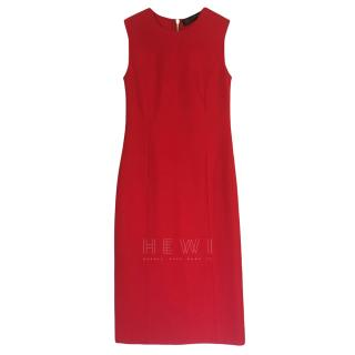 Versace Red Sleeveless Fitted Dress
