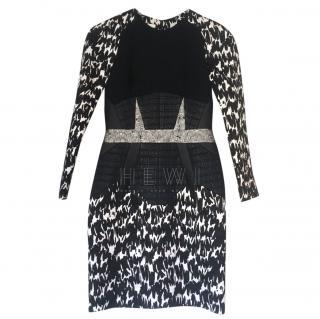 Antonio Berardi Black & White Lurex & Tweed Blend Fitted Dress