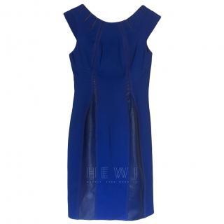 Zac Posen Cobalt Blue Leather Paneled Shift Dress