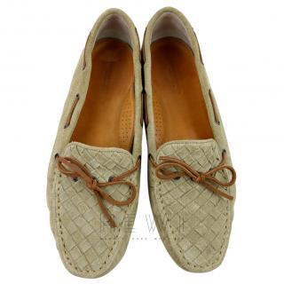 Bottega Veneta Intrecciato Suede Moccasin Loafers