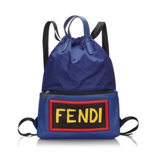 Fendi Blue Monster Vocabulary Nylon Backpack