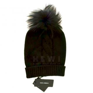 Dolce & Gabbana Cashmere Cable Knit Hat W/ Fox Fur Pom Pom