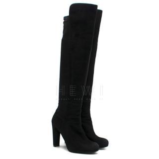 Stuart Weitzman OTK Black Suede Stretch Boots