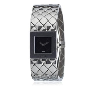 Chanel Quilted Mademoiselle Silver Watch