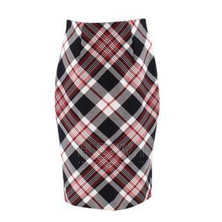 Alexander McQueen Tartan Wool Pencil Skirt