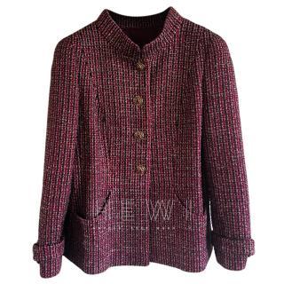 Chanel Burgundy Fantasy Tweed Jacket