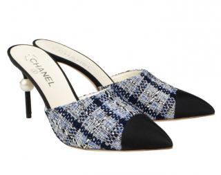 Chanel Blue Tweed & Grosgrain Cap-Toe Pearl Heel Mules