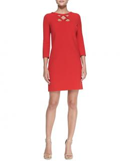 Diane Von Furstenberg Red Jersey Blend Cut-Out Dress