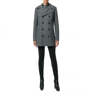 Saint Laurent Chevron Wool Caban Coat.