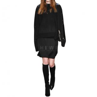 Givenchy Black Croc Embossed Leather Paneled Wool Jumper