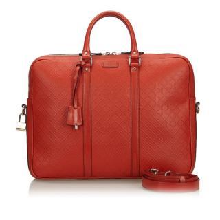 Gucci Red Diamante Leather Briefcase