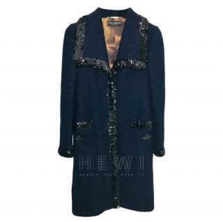 Dolce & Gabbana Navy Wool Coat W/ Embellished Trim