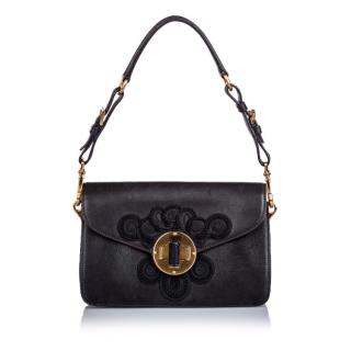 Prada Black Embroidered Leather Shoulder Bag