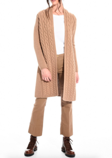 Max Mara Cable Knit Wool & Cashmere Camel Cardigan
