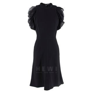 Alexander McQueen Ruffled Chiffon Puff Sleeve Black Dress