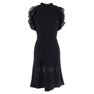 Alexander McQueen Ruffled Chiffon Puff Sleeve Black Dress