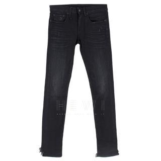 R13 Black Alison Crop Distressed Jeans