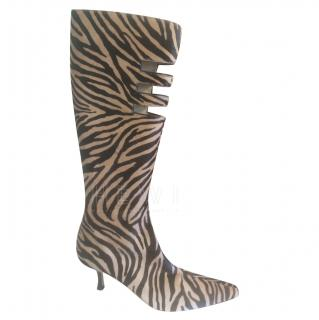 Jimmy Choo Zebra Calf Hair Cut-Out Boots