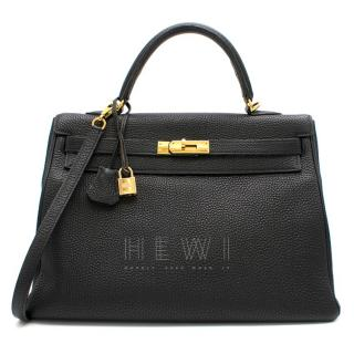 Hermes Black Togo Leather 35cm Sellier Kelly Bag