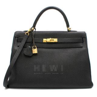 Hermes Black Togo Leather 35cm Kelly Retourne Bag