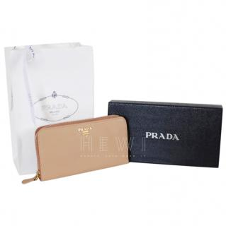 Prada Beige Saffiano Leather Zip-Around Wallet