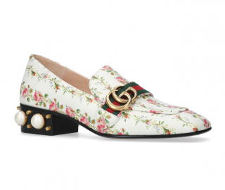 Gucci Peyton Pearl Floral Loafers 35