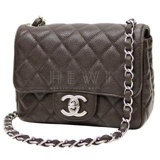Chanel Brown Caviar Leather Mini Classic Flap
