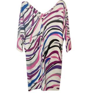 Diane Von Furstenberg White Printed Shift Dress