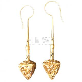 Amrapali 18k Yellow Gold Diamond Pendant Drop Earrings