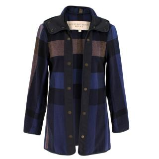 Burberry Brit Wool Check Hooded Coat