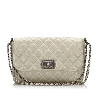 Chanel Silver Boy Messanger Flap Bag