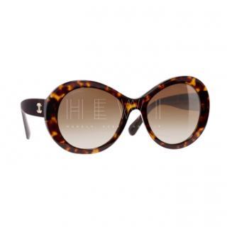 Chanel Tortoiseshell Oval Sunglasses
