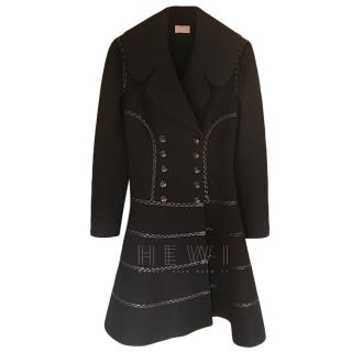 Alaia Black Wool Leather Trim Coat