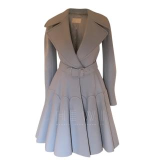 Alaia Grey Fit & Flare Wool Coat