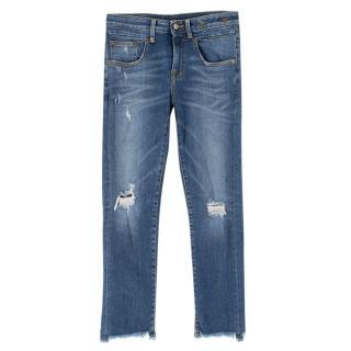 R13 Distressed Straight Boy Jeans